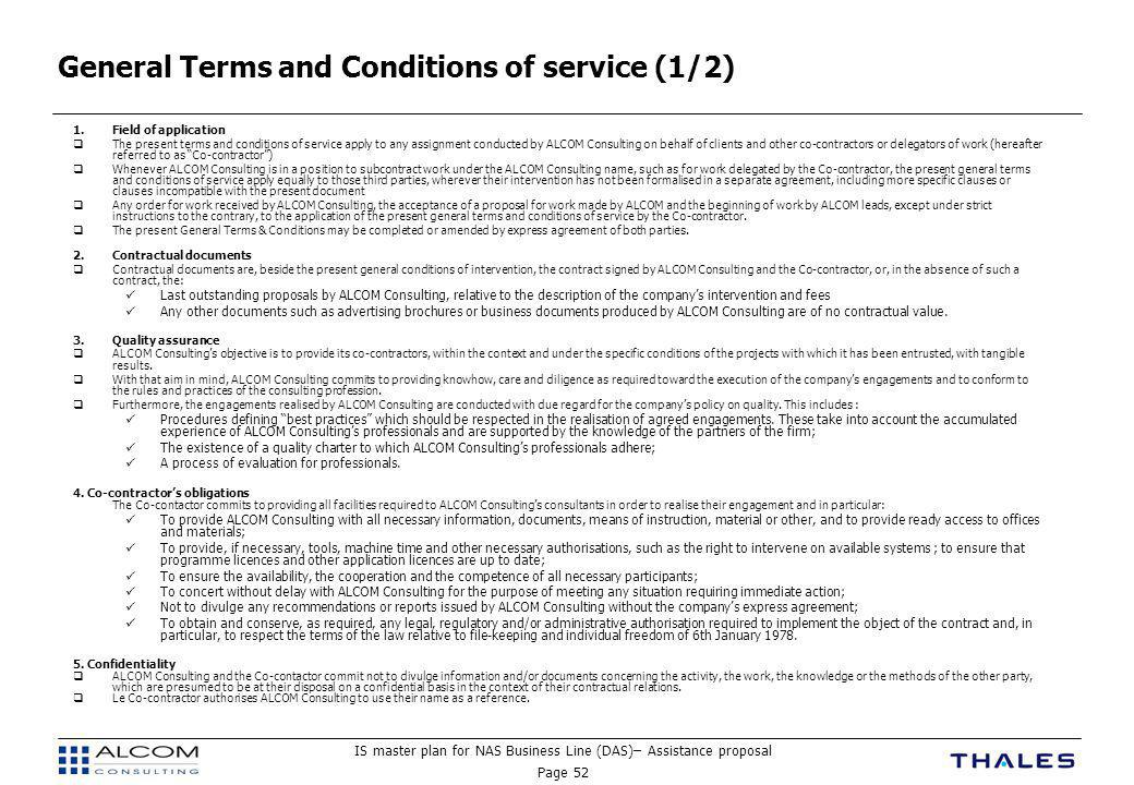 General Terms and Conditions of service (1/2)