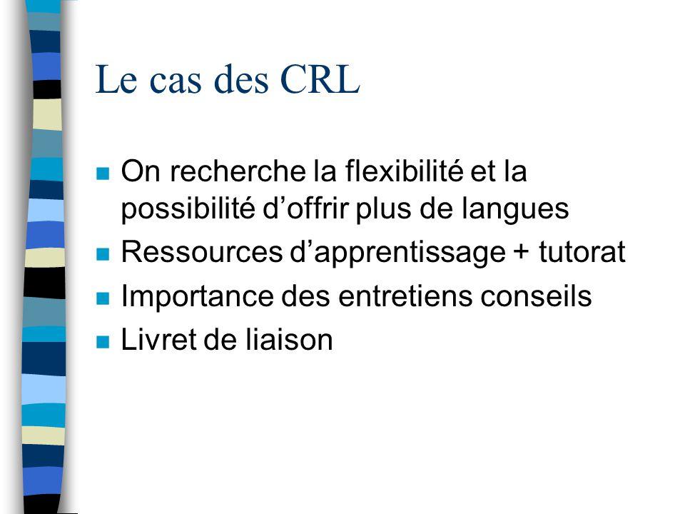 Le cas des CRL On recherche la flexibilité et la possibilité d'offrir plus de langues. Ressources d'apprentissage + tutorat.