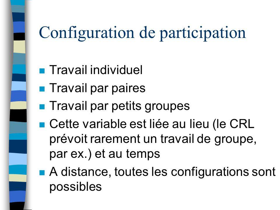 Configuration de participation