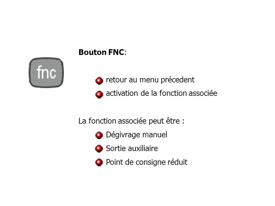 Bouton FNC: retour au menu précedent. activation de la fonction associée. La fonction associée peut être :
