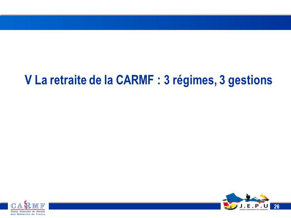 V La retraite de la CARMF : 3 régimes, 3 gestions