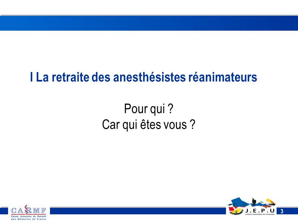 I La retraite des anesthésistes réanimateurs