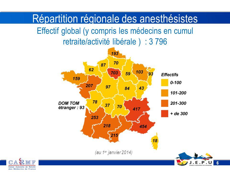 Répartition régionale des anesthésistes Effectif global (y compris les médecins en cumul retraite/activité libérale ) : 3 796