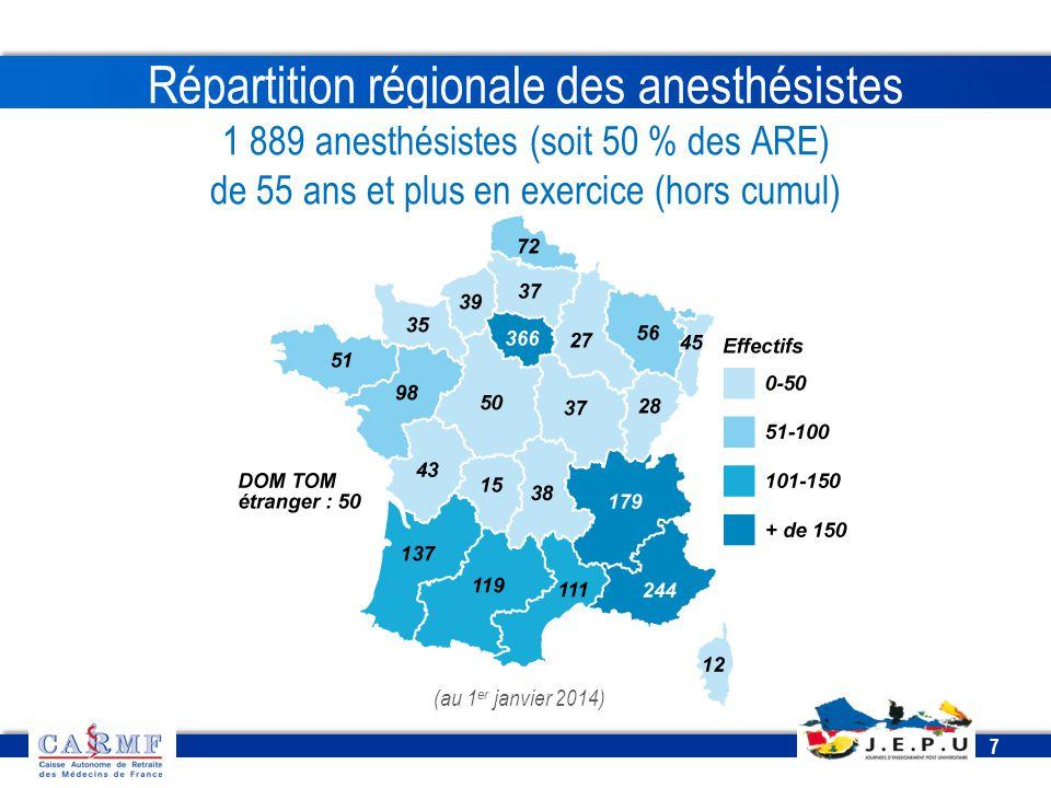 Répartition régionale des anesthésistes 1 889 anesthésistes (soit 50 % des ARE) de 55 ans et plus en exercice (hors cumul)