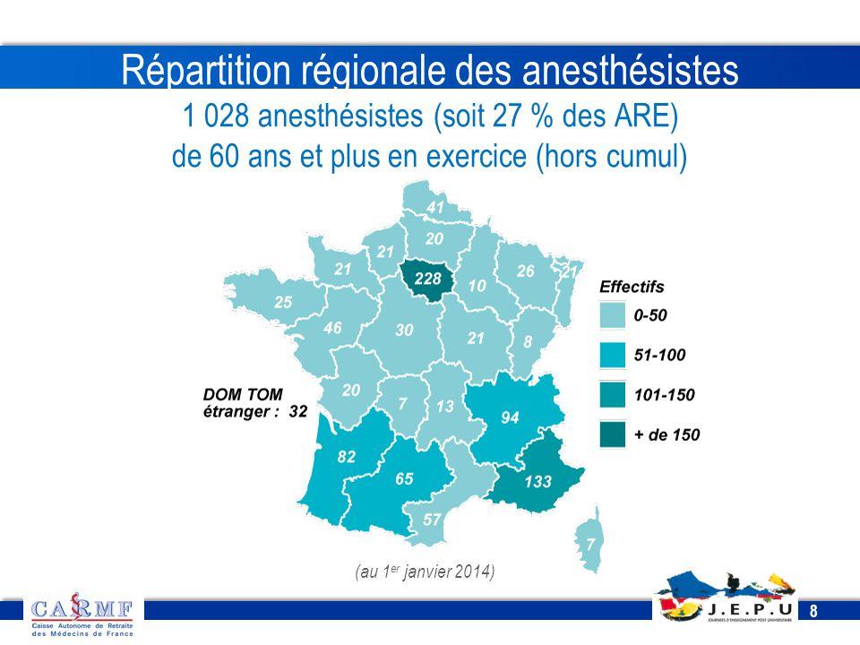 Répartition régionale des anesthésistes 1 028 anesthésistes (soit 27 % des ARE) de 60 ans et plus en exercice (hors cumul)