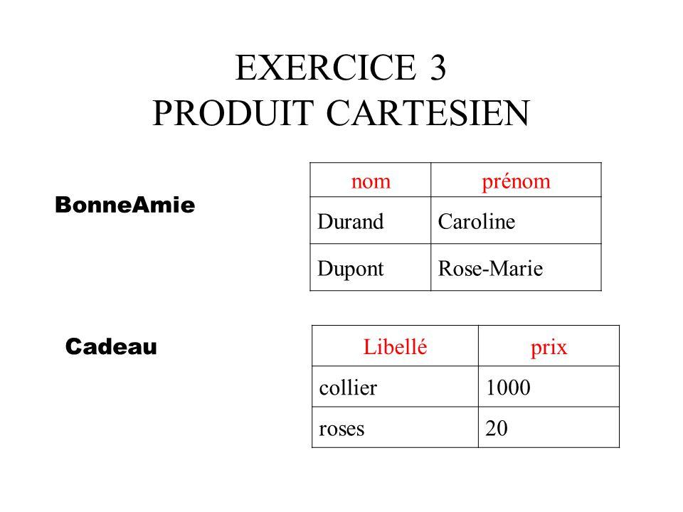 EXERCICE 3 PRODUIT CARTESIEN
