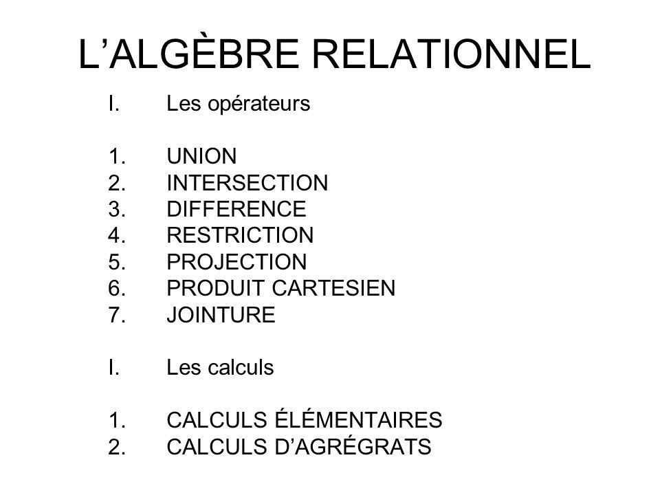 L'ALGÈBRE RELATIONNEL
