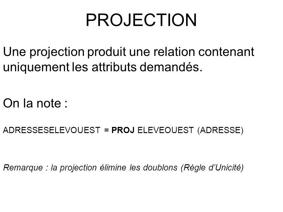 PROJECTION Une projection produit une relation contenant uniquement les attributs demandés. On la note :