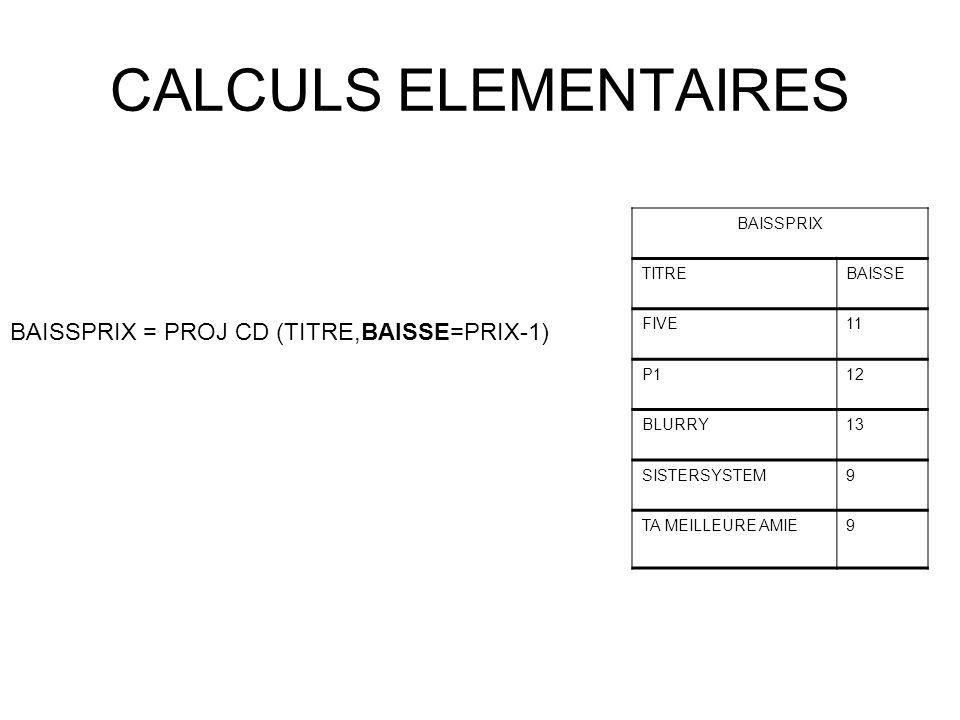 CALCULS ELEMENTAIRES BAISSPRIX = PROJ CD (TITRE,BAISSE=PRIX-1)
