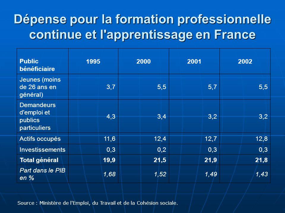 Dépense pour la formation professionnelle continue et l apprentissage en France