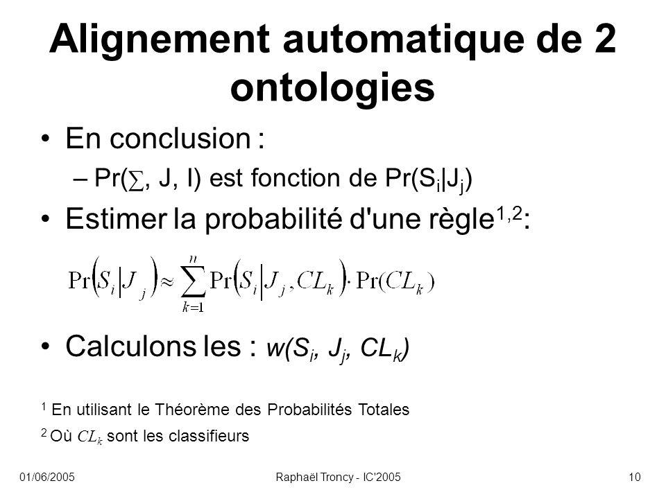 Alignement automatique de 2 ontologies