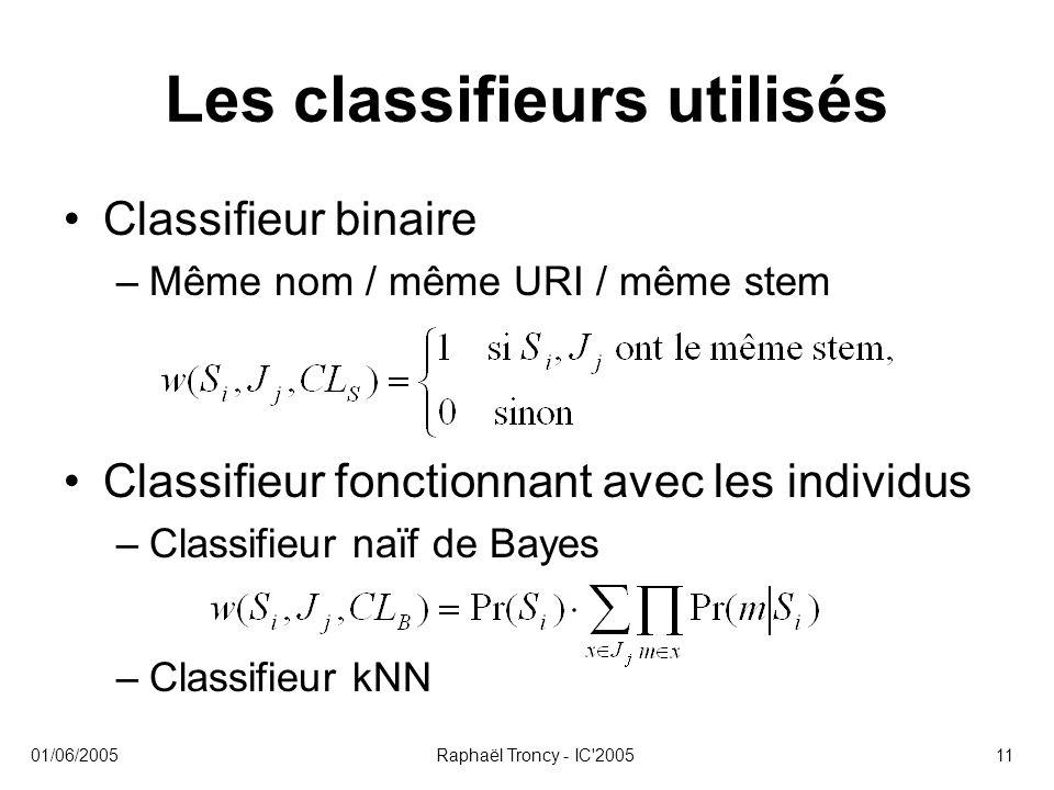 Les classifieurs utilisés