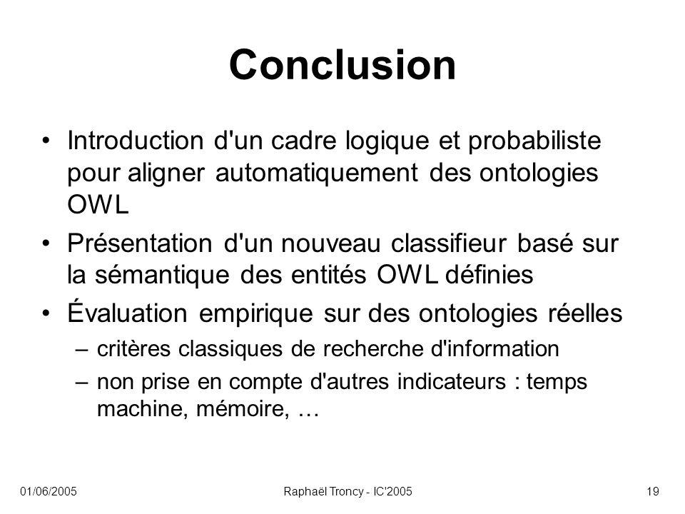 Conclusion Introduction d un cadre logique et probabiliste pour aligner automatiquement des ontologies OWL.