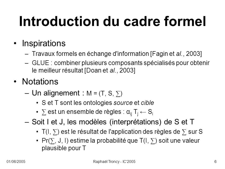 Introduction du cadre formel