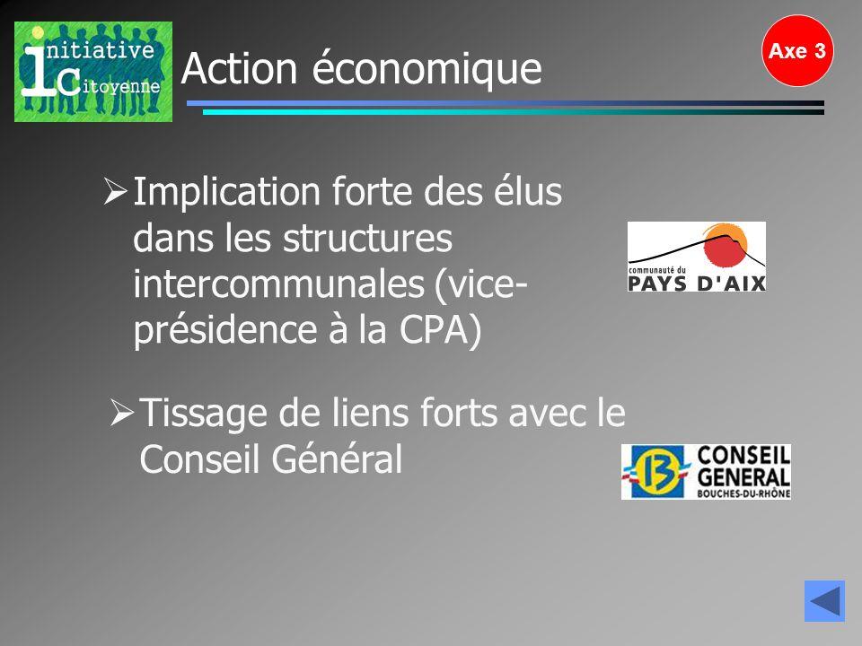 Axe 3 Action économique. Implication forte des élus dans les structures intercommunales (vice-présidence à la CPA)