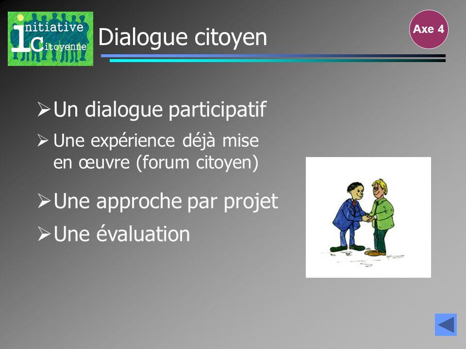Dialogue citoyen Un dialogue participatif Une approche par projet