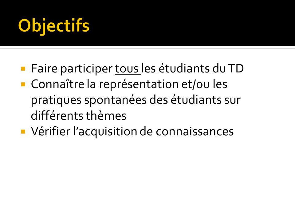 Objectifs Faire participer tous les étudiants du TD