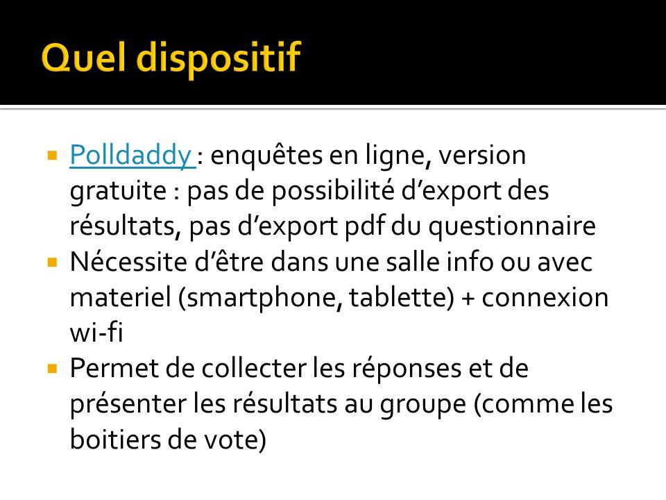 Quel dispositif Polldaddy : enquêtes en ligne, version gratuite : pas de possibilité d'export des résultats, pas d'export pdf du questionnaire.