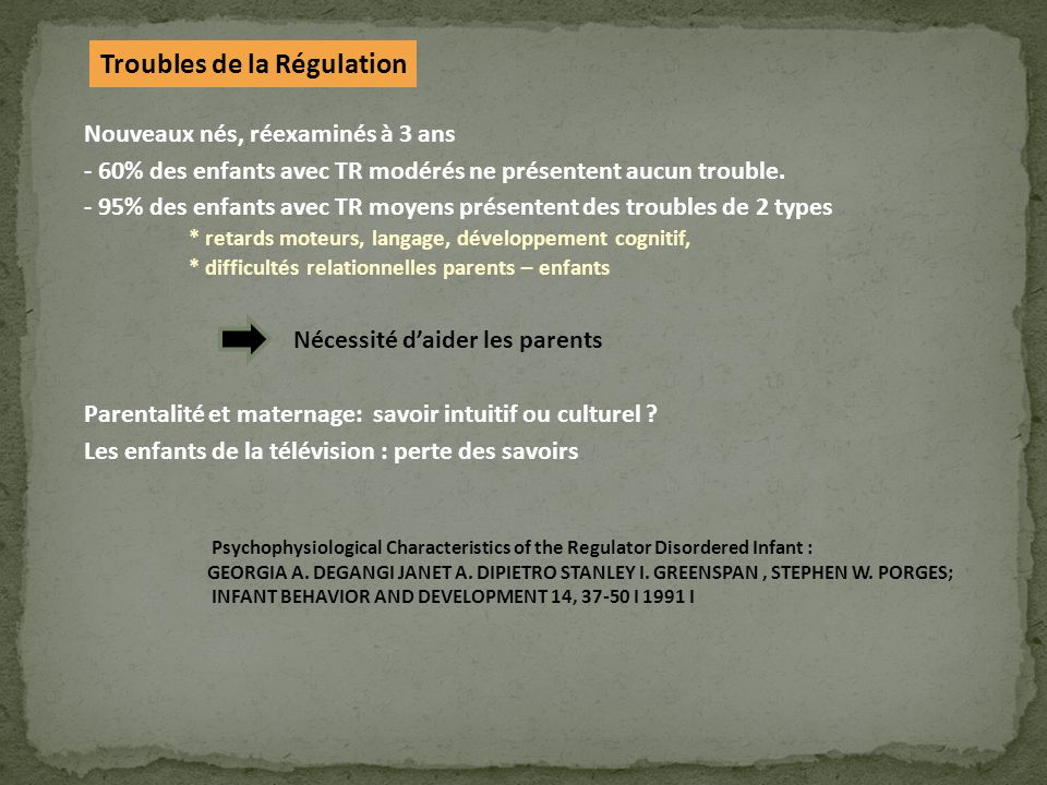 Troubles de la Régulation