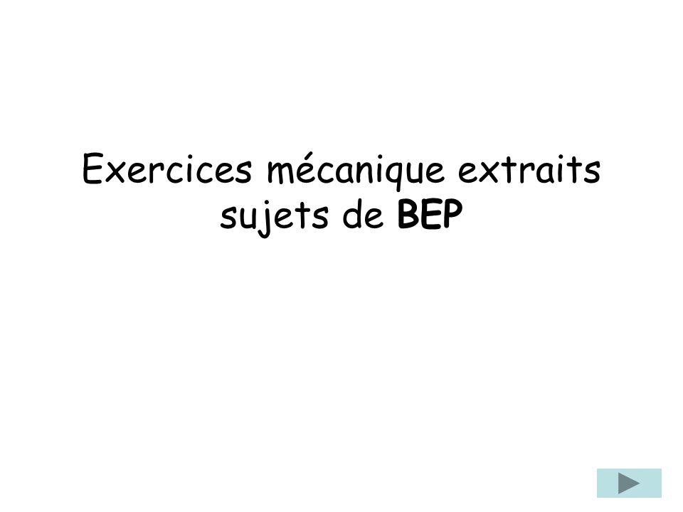 Exercices mécanique extraits sujets de BEP