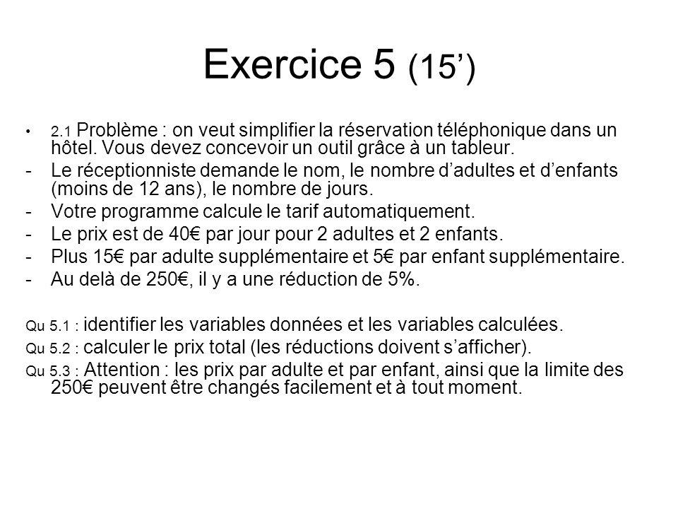 Exercice 5 (15') 2.1 Problème : on veut simplifier la réservation téléphonique dans un hôtel. Vous devez concevoir un outil grâce à un tableur.