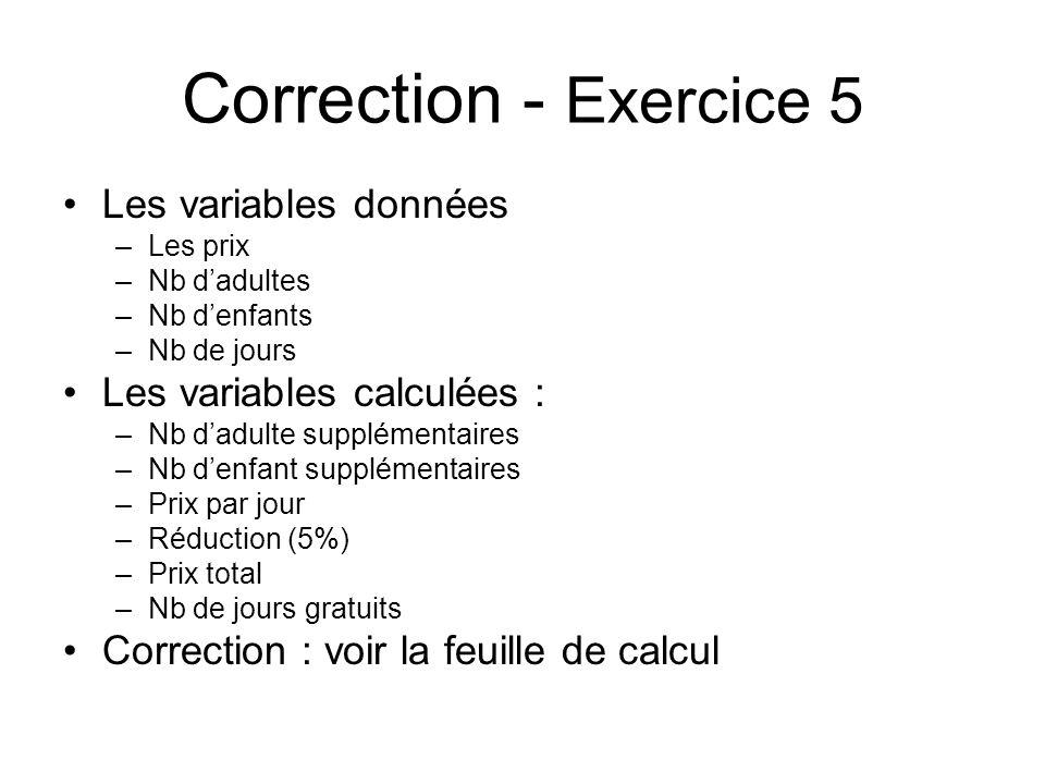 Correction - Exercice 5 Les variables données