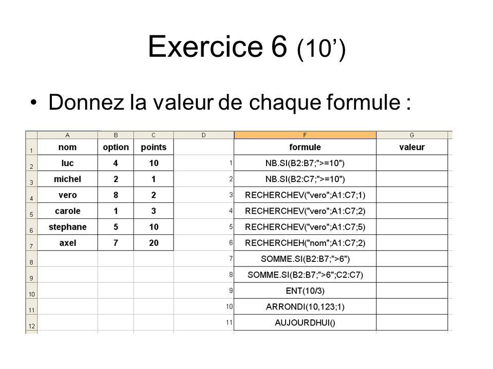Exercice 6 (10') Donnez la valeur de chaque formule :