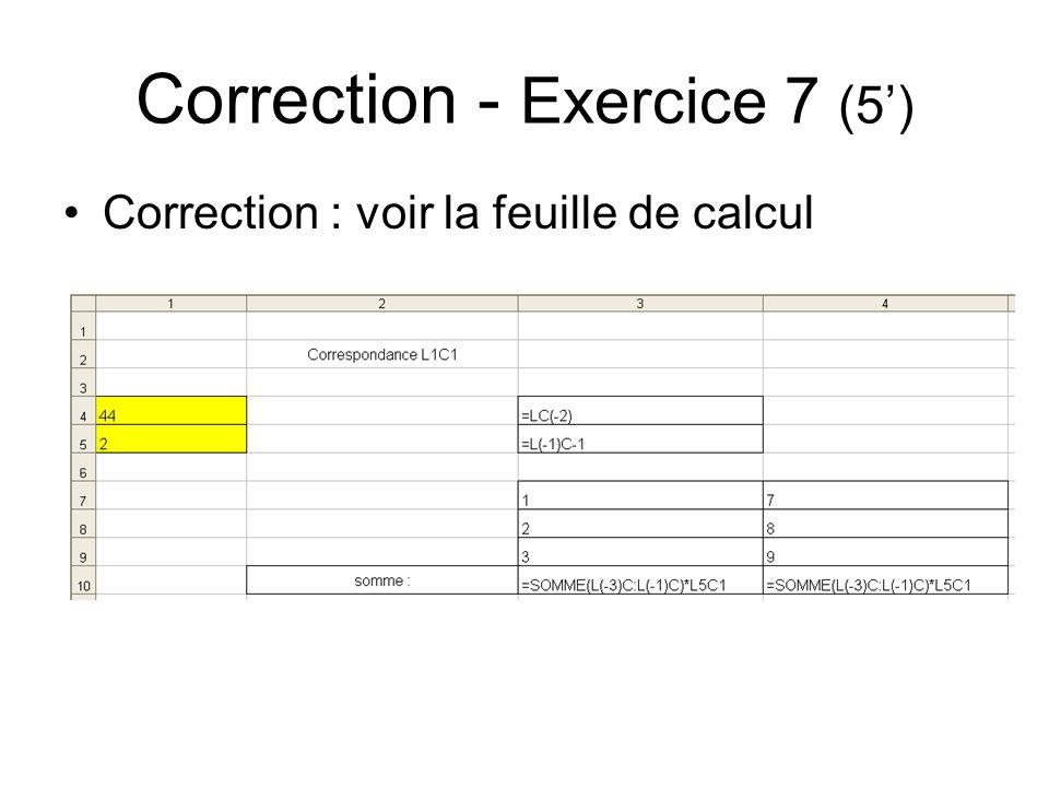 Correction - Exercice 7 (5')