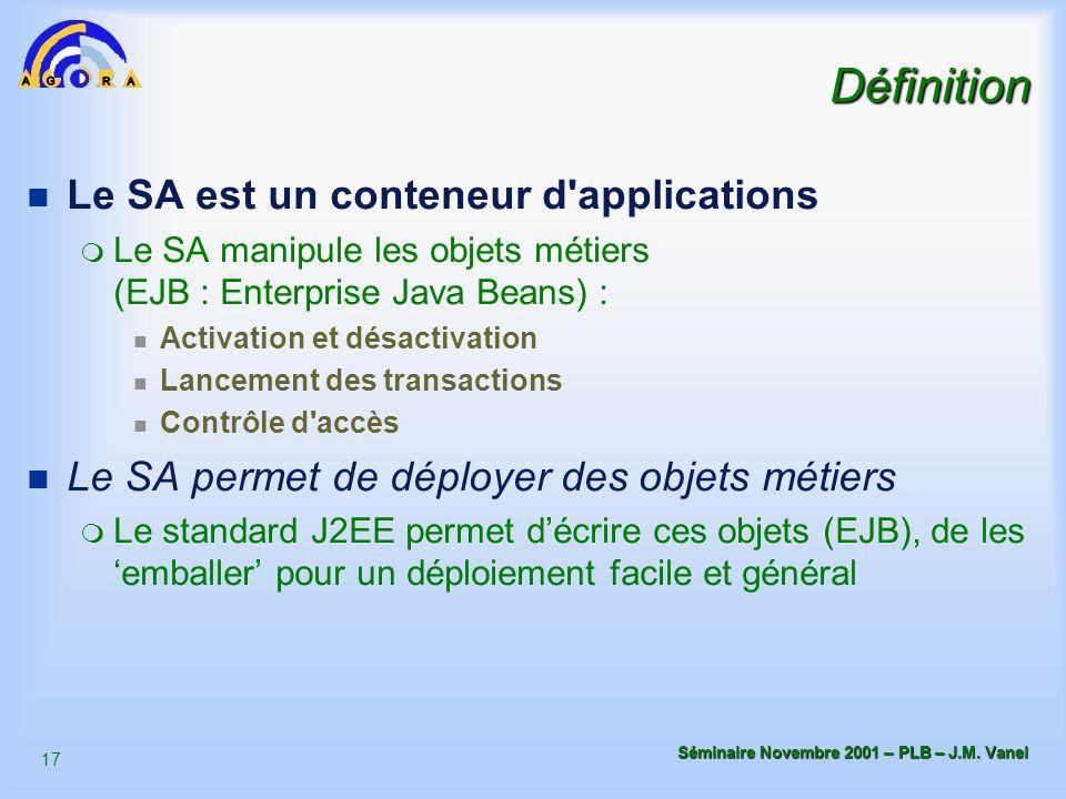 Définition Le SA est un conteneur d applications