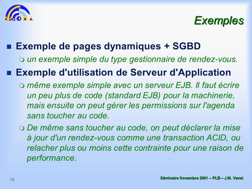 Exemples Exemple de pages dynamiques + SGBD