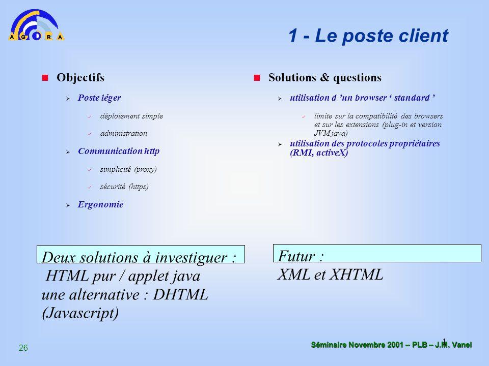 1 - Le poste client Objectifs. Poste léger. déploiement simple. administration. Communication http.