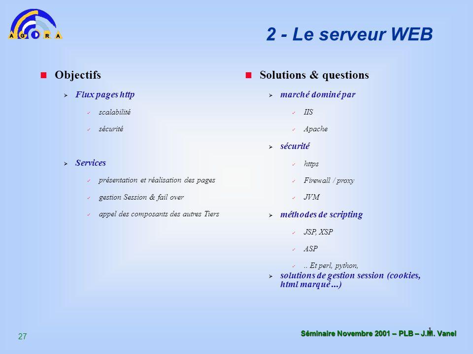 2 - Le serveur WEB Objectifs Solutions & questions Flux pages http