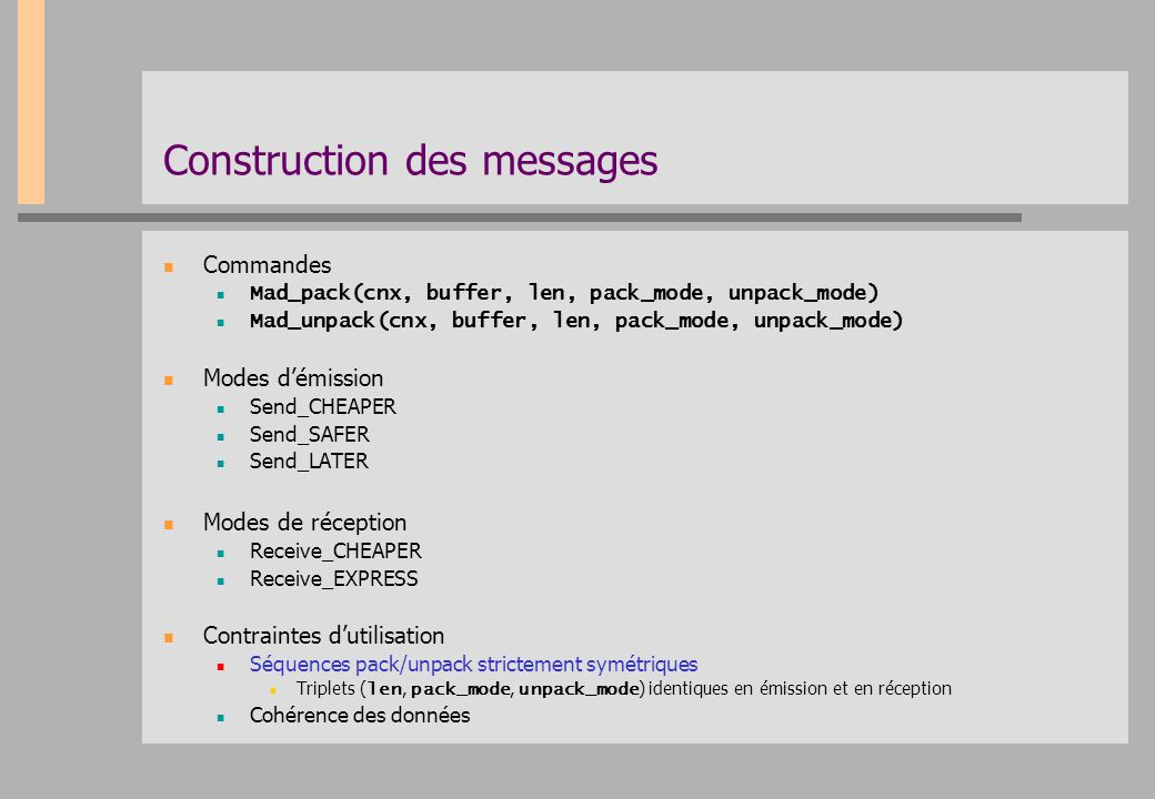 Construction des messages