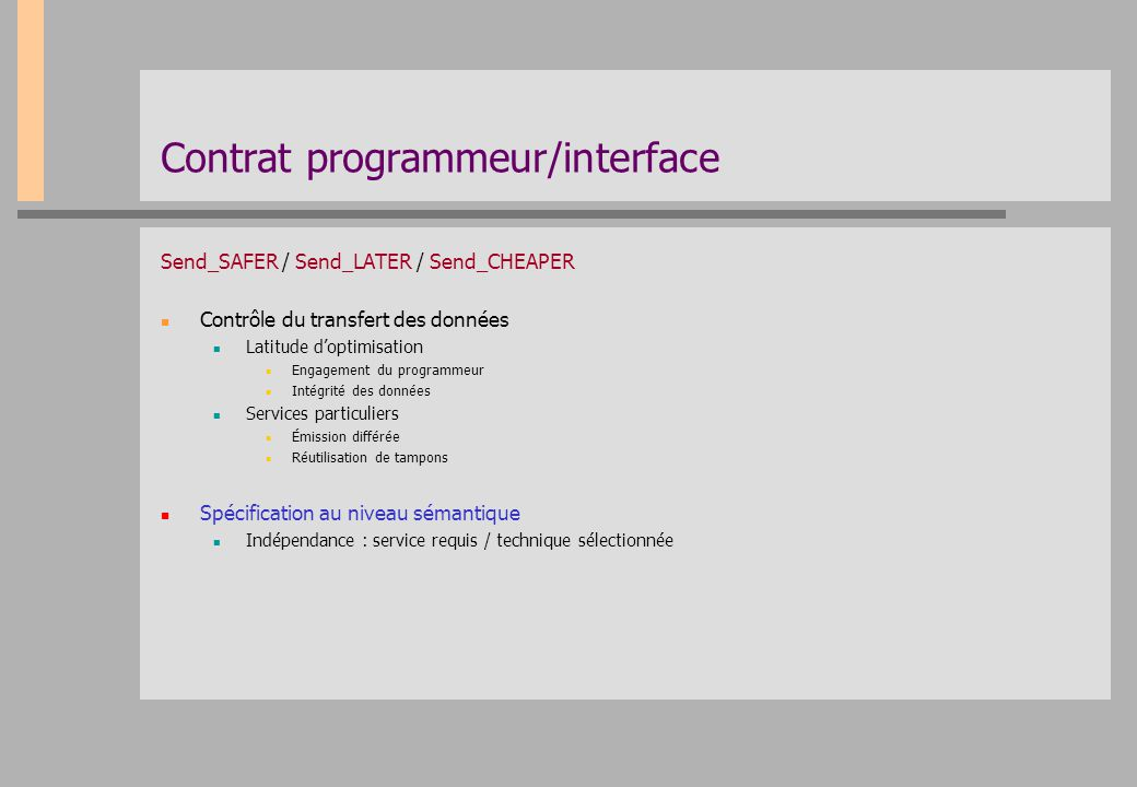 Contrat programmeur/interface