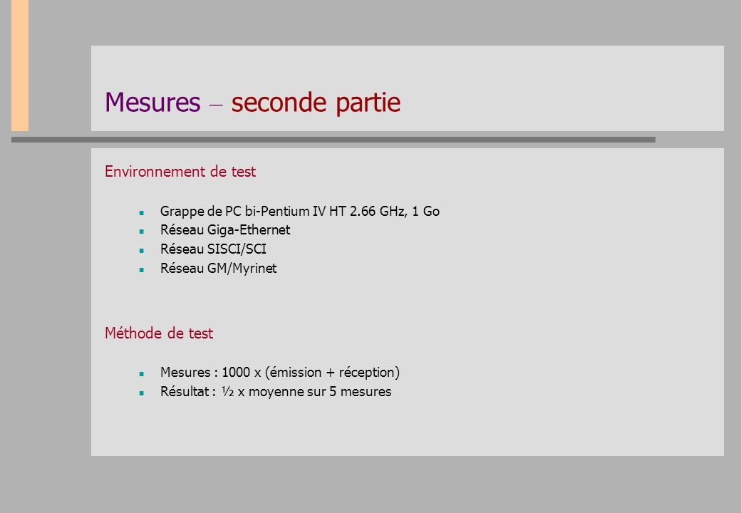 Mesures – seconde partie