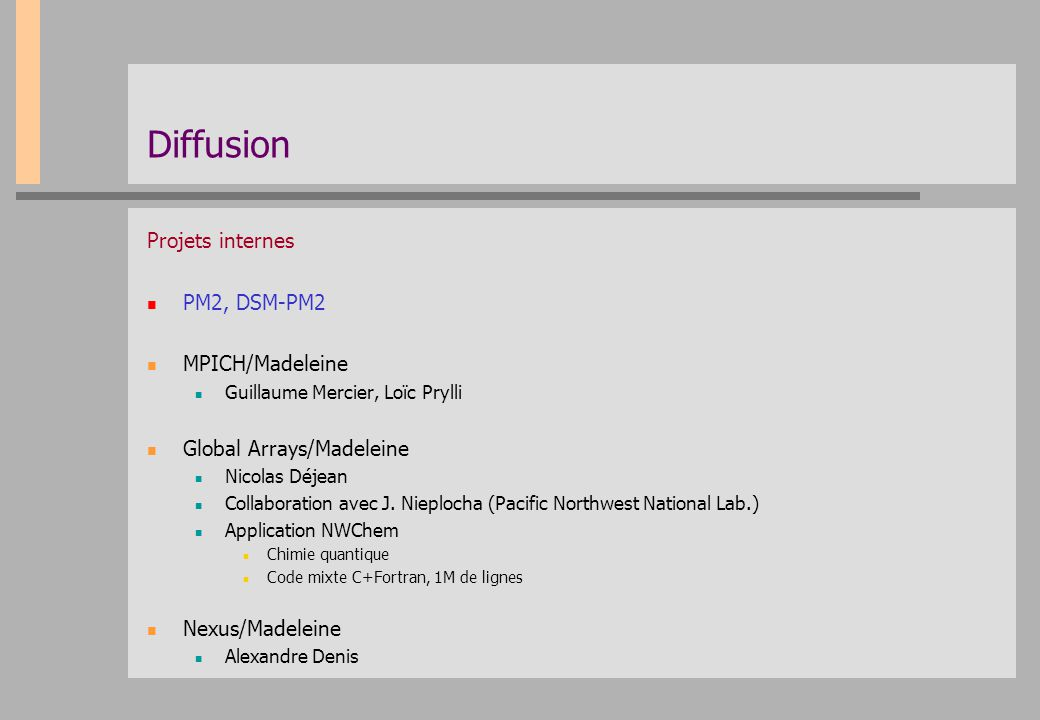Diffusion Projets internes PM2, DSM-PM2 MPICH/Madeleine