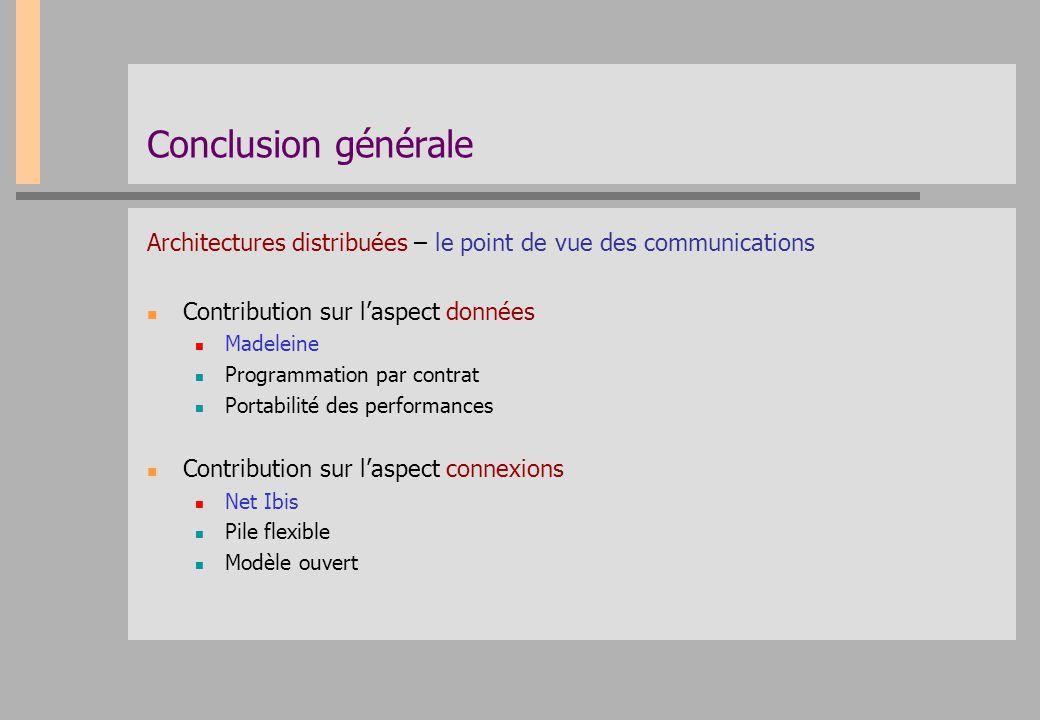 Conclusion générale Architectures distribuées – le point de vue des communications. Contribution sur l'aspect données.