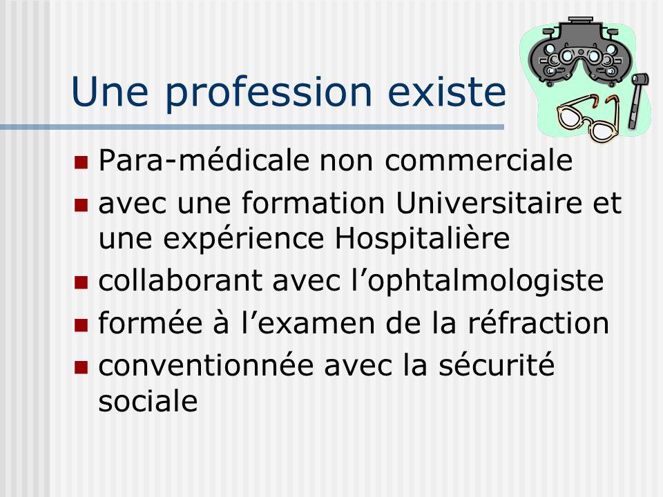 Une profession existe Para-médicale non commerciale