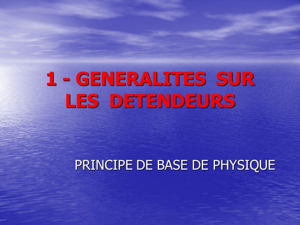 1 - GENERALITES SUR LES DETENDEURS