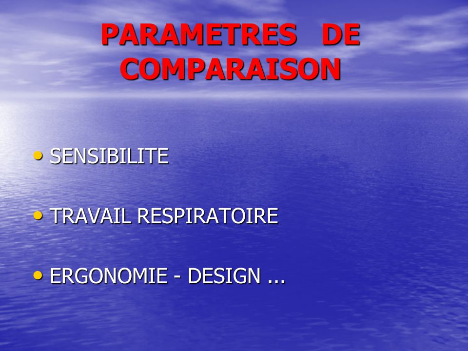 PARAMETRES DE COMPARAISON