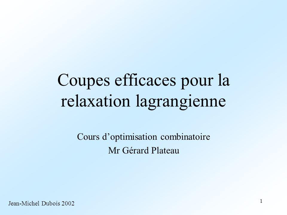 Coupes efficaces pour la relaxation lagrangienne