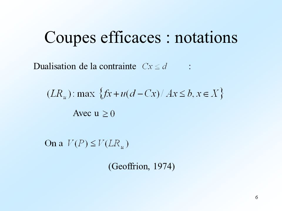 Coupes efficaces : notations