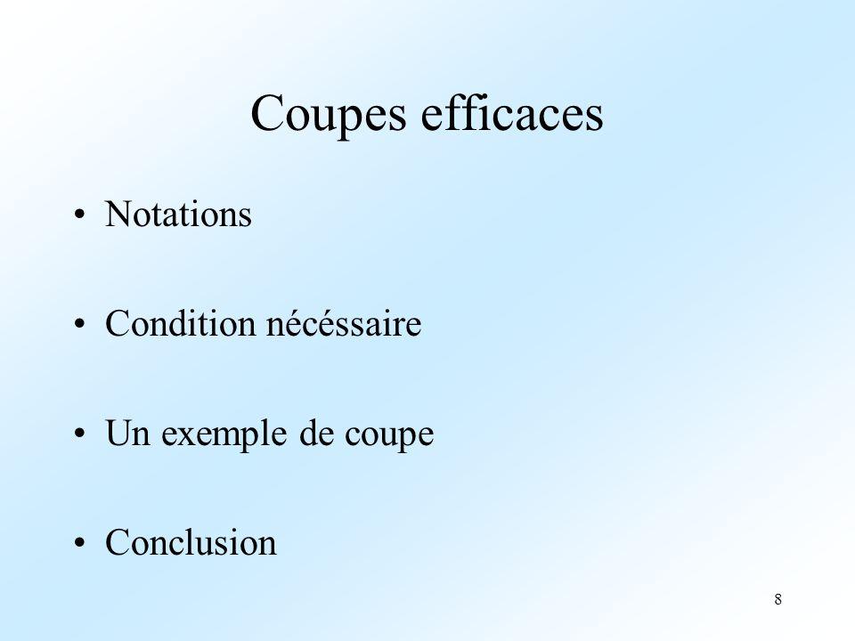 Coupes efficaces Notations Condition nécéssaire Un exemple de coupe