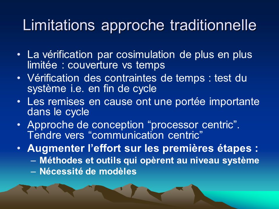 Limitations approche traditionnelle