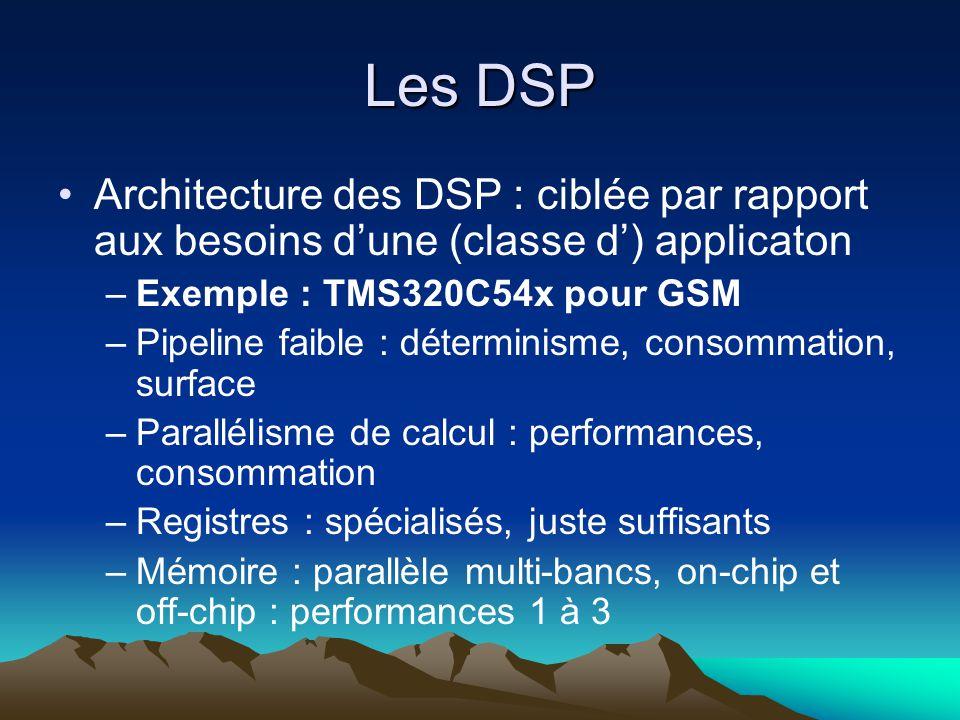Les DSP Architecture des DSP : ciblée par rapport aux besoins d'une (classe d') applicaton. Exemple : TMS320C54x pour GSM.