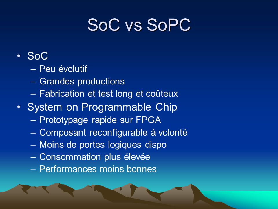 SoC vs SoPC SoC System on Programmable Chip Peu évolutif