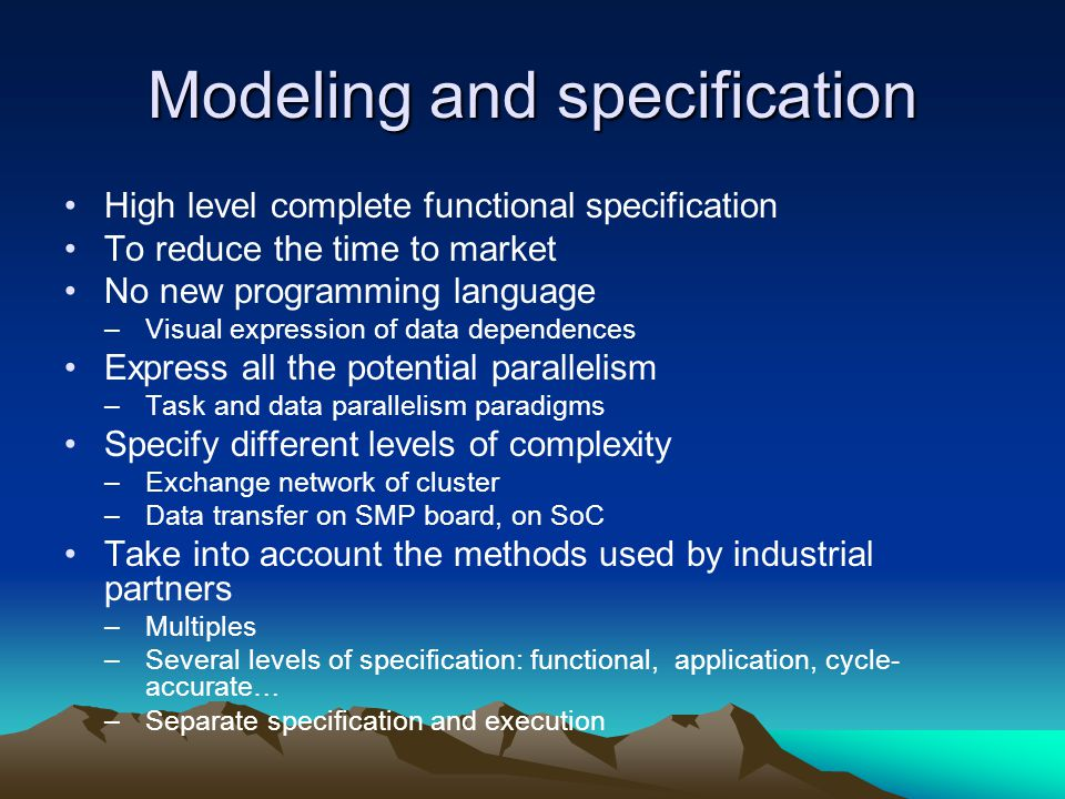 Modeling and specification