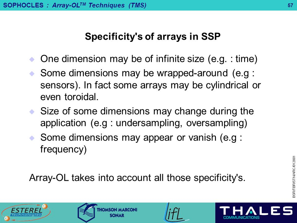 Specificity s of arrays in SSP