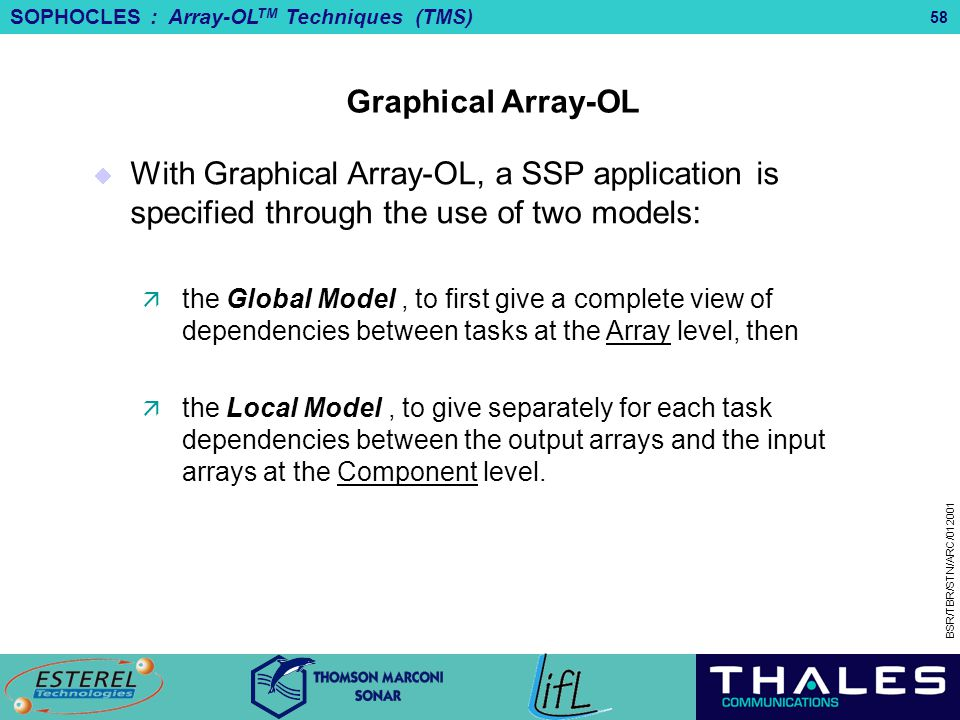 Graphical Array-OL With Graphical Array-OL, a SSP application is specified through the use of two models: