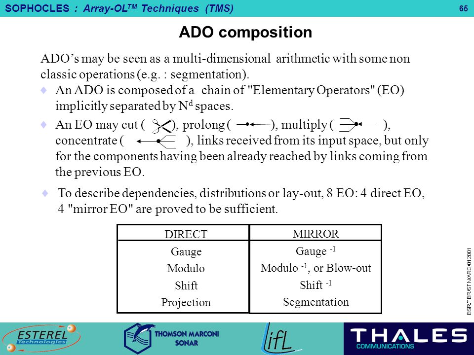 ADO composition ADO's may be seen as a multi-dimensional arithmetic with some non classic operations (e.g. : segmentation).